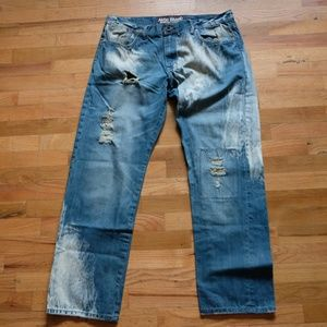 Akoo Brand Medium Wash Denim Jeans Ripped Sz 36x30